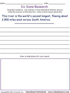 Do Some Research - World's Second Longest River Worksheet