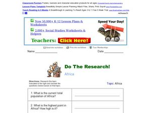 Do the Research! Africa Worksheet
