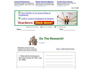 Do the Research! Food Worksheet
