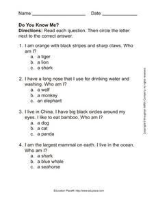 Do You Know Me? Worksheet