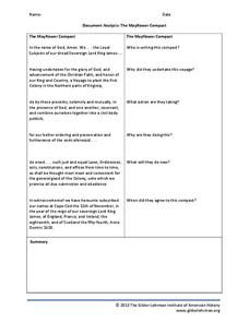 document analysis the mayflower compact 3rd 6th grade worksheet lesson planet. Black Bedroom Furniture Sets. Home Design Ideas
