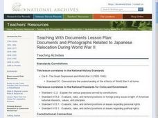 Documents and Photographs Related to Japanese Relocation During World War II Lesson Plan