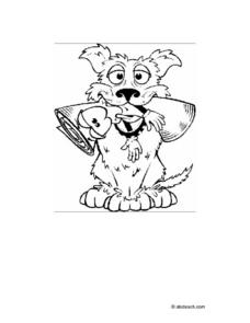 Dog With Personified Newspaper in Mouth (Coloring) Worksheet