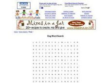 Dog Word Search Worksheet