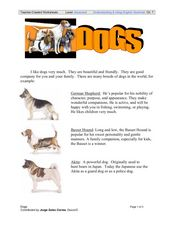 Dogs: Reading Comprehension Worksheet