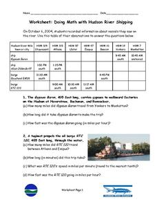 Doing Math with Hudson River Shipping Worksheet