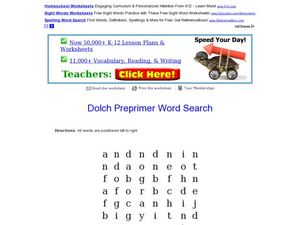 Dolch Preprimer Word Search Worksheet