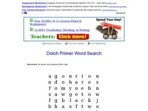 Dolch Primer Word Search Worksheet