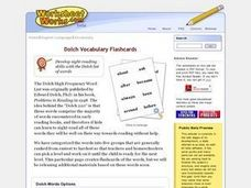 Dolch Vocabulary Flashcards-Level 1 Worksheet