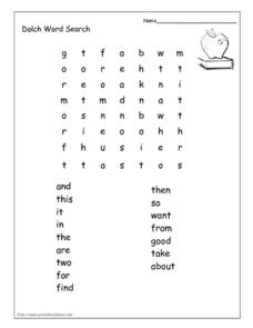 Dolch Word Search Worksheet
