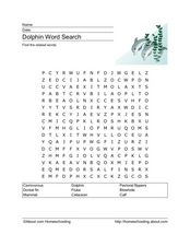 Dolphin Word Search Worksheet