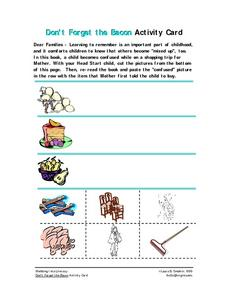Don't Forget the Bacon Activity Card Worksheet