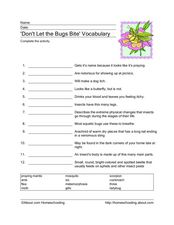 'Don't Let the Bugs Bite' Vocabulary Worksheet