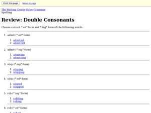 Double Consonants Worksheet