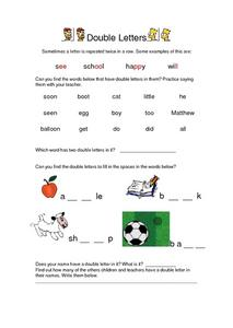 Double Letters Lesson Plan