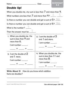 Double Up! Enrichment 5.3 Worksheet
