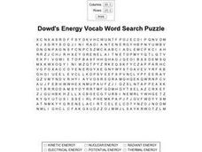 Dowd's Energy Word Search Worksheet