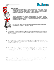 Dr. Seuss Mixed Math Word Problems 3rd - 4th Grade Worksheet | Lesson ...