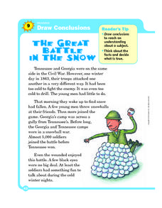 Draw Conclusions: The Great Battle in the Snow Worksheet