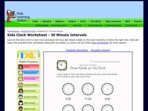 Draw Hands on the Clock: 30 Minute Intervals Worksheet