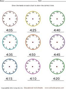 Draw the Clocks' Hands Worksheet