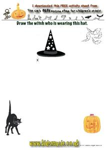Draw the Witch Who is Wearing This Hat Worksheet