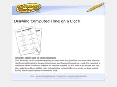Drawing Computed Time On A Clock Worksheet