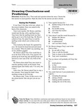 Drawing Conclusions and Predicting Worksheet