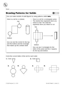 Drawing Patterns For Solids Worksheet