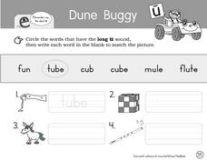 Dune Buggy- Literacy and Grammar Worksheets- Long U Worksheet