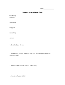 Durango Street: Chapter Eight Lesson Plan