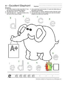 E-Excellent Elephant Worksheet