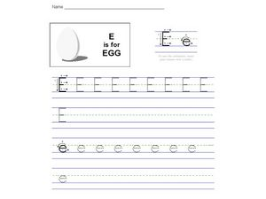 E is for Egg: The Letter E Worksheet