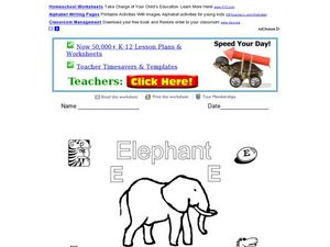 E is for Elephant Worksheet