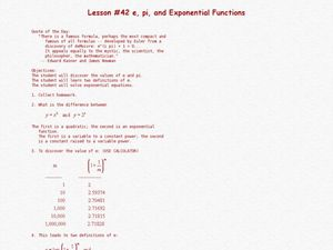 E, Pi, and Exponential Functions Lesson Plan