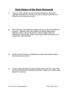 early history of the atom homework 9th 12th grade worksheet lesson planet. Black Bedroom Furniture Sets. Home Design Ideas