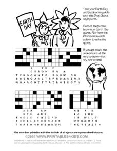 Earth Day Drop Quote Puzzle Worksheet