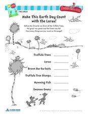 earth day with the lorax dr seuss activity kindergarten 2nd grade worksheet lesson planet. Black Bedroom Furniture Sets. Home Design Ideas