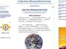 Earth Hour Missing Words Puzzle Worksheet