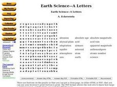 Earth Science--A Letters Worksheet