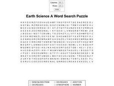 Earth Science A Word Search Worksheet