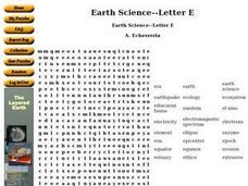 Earth Science--Letter E Worksheet