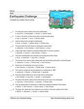 Printables Earthquake Worksheet earthquake challenge 4th 6th grade worksheet lesson planet worksheet