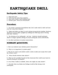 Printables Earthquake Worksheet earthquake drill 7th 10th grade worksheet lesson planet worksheet