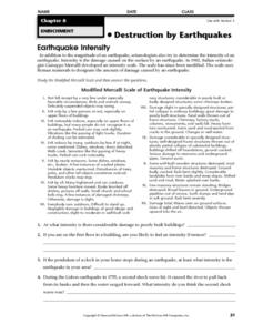 Earthquake Intensity Worksheet