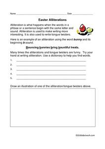 Easter Alliterations Lesson Plan