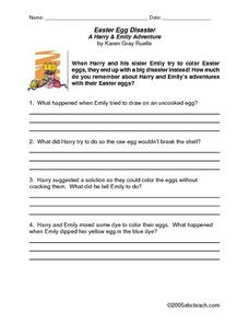 Easter Egg Disaster: A Harry & Emily Adventure Lesson Plan