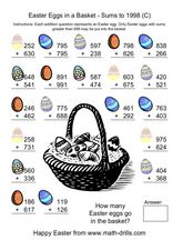 Easter Eggs in a Basket - Sums to 1998 (C) Worksheet