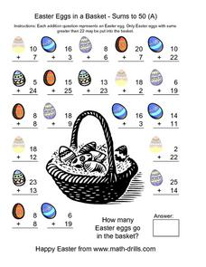 Easter Eggs in a Basket - Sums to 50 (A) Worksheet