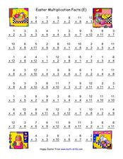Easter Multiplication Facts (E) Worksheet